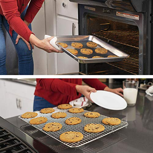 Oven-Safe Baking Pan with Cooling Rack Set - Quarter Sheet Pan Size - Includes Premium Aluminum Baking Sheet and 100% Stainless Steel Baking Rack for Oven - Durable, Easy Clean, Commercial Quality