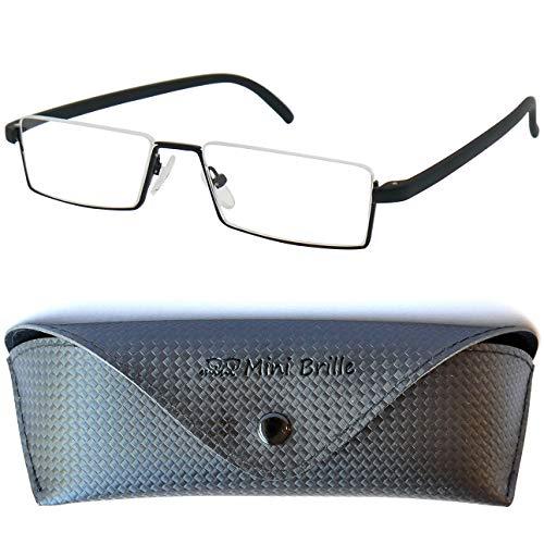 Flex Brille – Leichte & Flexible Halbbrille Lesebrille, Edelstahl Rahmen (Schwarz), GRATIS Brillenetui, Lesehilfe Herren und Damen +1.5 Dioptrien