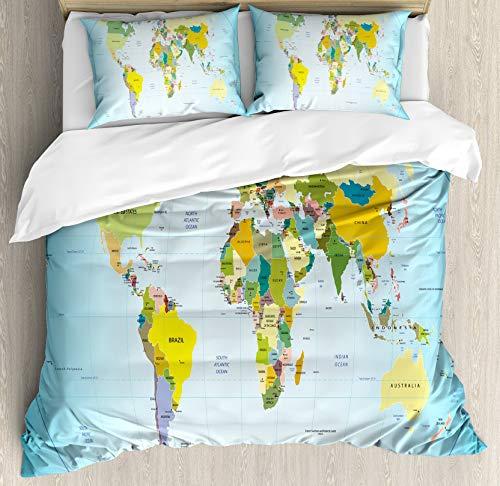 HUNKKY - Juego de funda de edredón con mapa del mundo con países y capitales de la Tierra con los lagos de los océanos, tamaño queen, color azul pálido