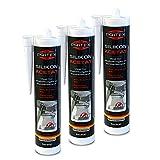 Silikon Sanitär 3 x 300 ml | Transparent | Acetat für Bad Dusche und WC | schimmelresistent | zum Abdichten und Verfugen