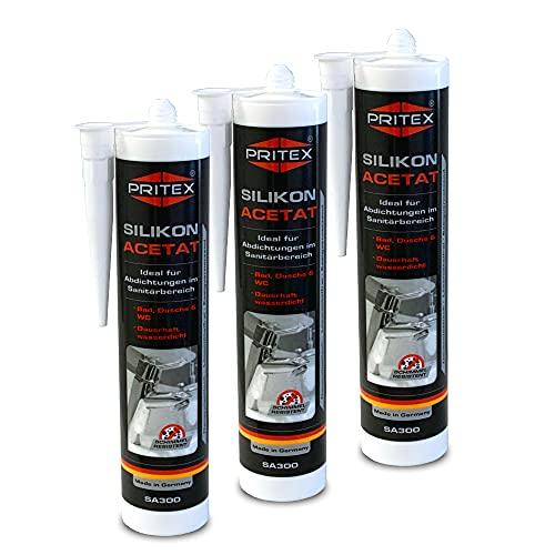Silikon Sanitär 3 x 300 ml | GRAU | Acetat für Bad Dusche und WC | schimmelresistent | zum Abdichten und Verfugen