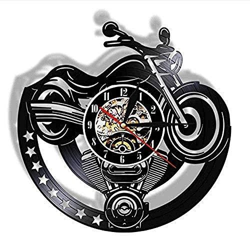 Reloj De Pared Reloj De Pared Disco De Vinilo Disco De Motocicleta Reloj De Pared De Vinilo Diseño De Arte De Garaje Reloj Vintage Único Reloj De Hombre Decoración De Estudio De Cueva Regalo De Motoci