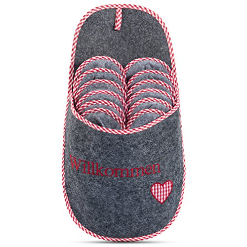ONVAYA Zapatillas de huéspedes antideslizantes   conjunto de 6   Zapatilla de fieltro   Willkommen bienvenido