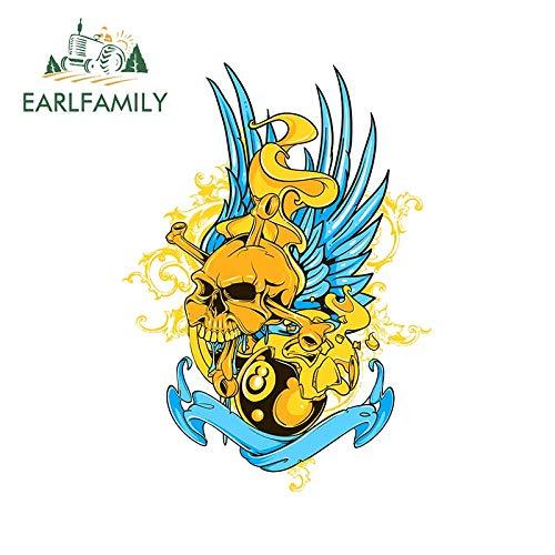 RSZHHL Sticker de Carro 13 cm x 9,4 cm Arte Amarillo y Azul Pintura de Calavera calcomanía de Vinilo Accesorios de Motocicleta gráficos de Personalidad Pegatinas de Coche