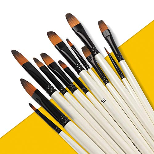 Paint Brushes for Acrylic Painting - 12PCS Filbert Watercolor Paint Brushes Set for Oil Painting, Face & Rock Painting, Nails, Model - Fine Detail Artist Paintbrush for Kids and Adults
