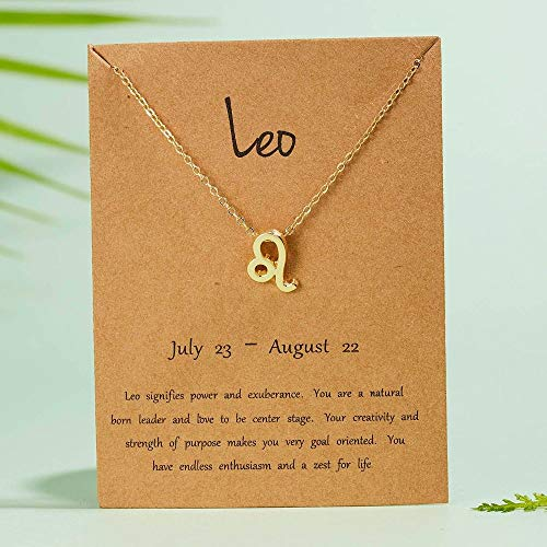 DRTWE Zodiac Necklace,Female Elegant Star Zodiac Sign 12 Constellation Necklaces Gold Pendant Charm Gold Chain Choker Necklaces For Women Birthday Jewelry Gift,Leo