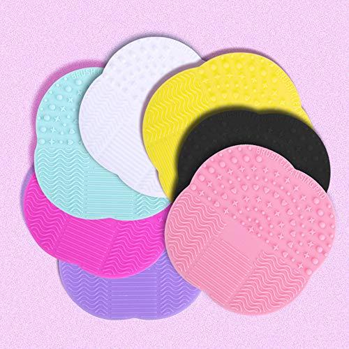 Tapis de nettoyage brosse de maquillage en silicone couleur bonbon Outil de lavage portable avec ventouse tampon de nettoyage brosse (blanc)