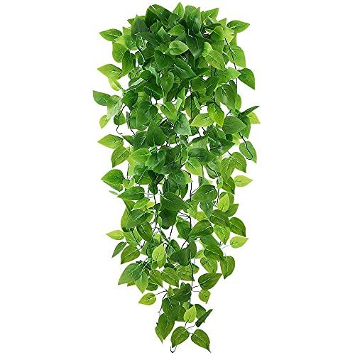 JPGhaha Künstliche Pflanzen 2 Stück Künstliche Hängepflanzen Künstliche Hängende Pflanzen Grüner Dillblatt-Wandbehang 100 cm Streifen Grün für Raumdekoration