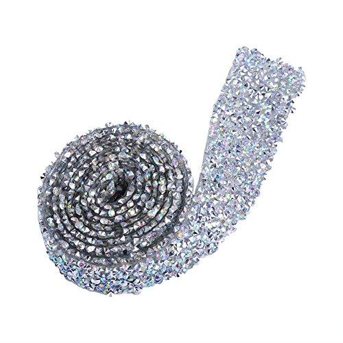 1 yarda 3 cm brillante cristal Rhinestone banda cinturón de cristal para decoración de fiesta ornamento pasador de pelo (color plata AB)