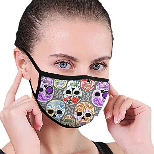 Schädel Calaveras Adult Kids Graphics Half Face Waschbarer wiederverwendbarer Mund - Abdeckung