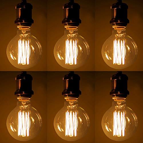 Edison Vintage Glühbirne, Retro Edison Filament Lampe Warmweiß E27 G95 40W Glühbirne Antike Glühlampe Licht Ideal für Nostalgie und Retro Beleuchtung - 6 Stück