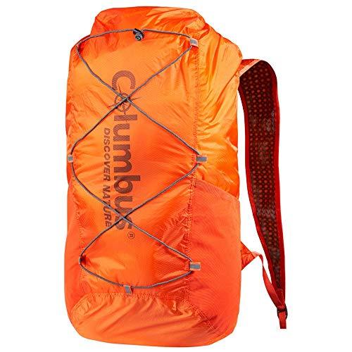 COLUMBUS Mochila Estanca, Plegable y Ultraligera Ideal para Senderismo, Trekking u Otras Actividades al Aire Libre o Acuaticas. Capacidad 20 L. Color Naranja.