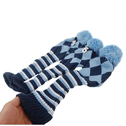 Beehive, batchet voor golfclubs met argyle-patroon, vintage pompon sokken voor driver en hout, 3-delig