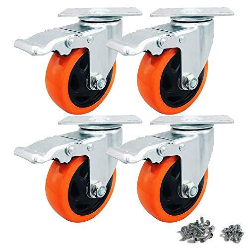 Ruedas giratorias resistentes de 100 mm, 700 kg, con freno para muebles de banco de trabajo, 4 unidades