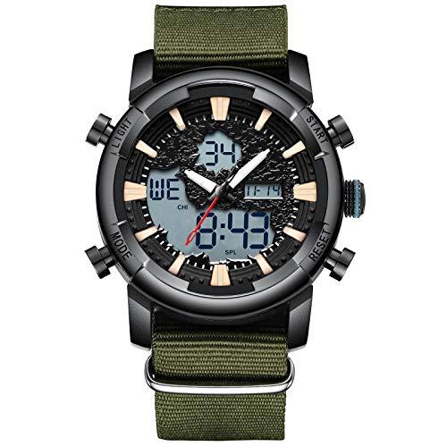 Herenhorloges mannen militair digitaal horloge sport chronograaf LED waterdicht groot bruin nylon polshorloges man multifunctioneel digitaal analoog wekker datum modieus horloge