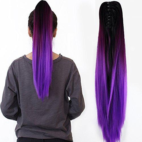 """Neverland 22""""Griffe sur Ombre Two Tone synthetique longue ligne droite Ponytail extensions de cheveux Naturel Noir Violet"""