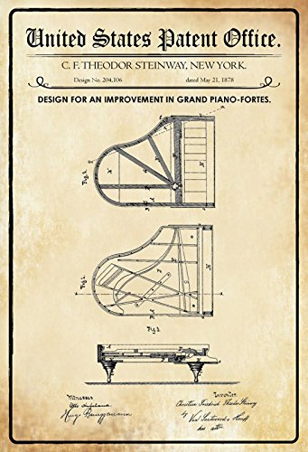 Schatzmix metalen bord patent ontwerp voor een piano Steinway grand metalen bord wanddecoratie 20x30 tin sign
