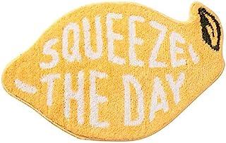 Fancy Soft Yellow Lemon Shape Bath Rug for Kids Fruit Pattern Non Slip Bathroom Carpet Rugs Absorbent Bath Mat
