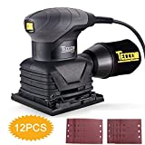 TECCPO Sheet Sander, 14,000 OPM Sander with 12 Pcs Sandpaper, Dust Collection Bag, Ideal for Removing Paint, Polishing, Sanding Down & Finishing Wood - TASS22P