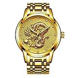 MHCYKJ Escultura Mens Relojes de Oro del dragón de los Hombres Reloj de Cuarzo Reloj de Acero Completa,D