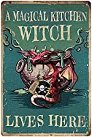 RCY-T ブリキサイン Old Fashioned Magic Kitchen Witch Lives Here Bar Club Kitchen Home Wall Decoration 8x12 Inches Gift