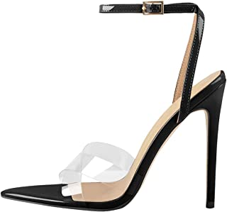 FSJ Women Clear Peep Toe Cross PVC Band Stiletto High Heel Ankle Strap Slingback Dress Sandals Size 4-15 US