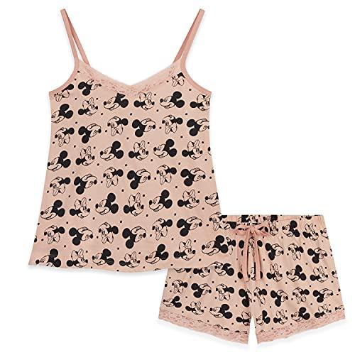 Disney Schlafanzug Damen Kurz, Pyjama Damen Kurz, Mickey Mouse und Minnie Mouse, Baumwolle Nachtwäsche Damen Set (Beige, L)