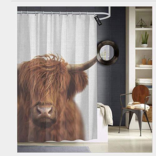 AdaCrazy Hochland Kuh Bunte Duschvorhänge für Badezimmer Duschvorhang 3D-Druck Wasserdicht beschichtetes Polyestergewebe Bad mit 12 Haken 71 Zoll