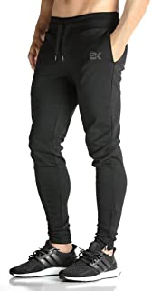 BROKIG Mens Zip Joggers Pants - Casual Gym Workout Track Pants Comfortable Slim Fit Tapered Sweatpants with Pockets