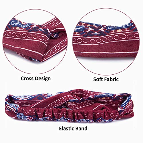 12 Pieces Women Headbands, Vintage Elastic Flower Printed Boho Floal Style Criss Cross Twisted Hair Band Head Wrap Cute Hair Accessories for Women and Girls Wash Face Makeup Workout GYM Yoga Running