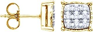 Orecchini a lobo per donne e ragazze in argento Sterling 925 (oro 18 carati su argento sterling) (0,2 carati)