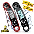 Meat Thermometer, Digital Meat Thermometer Instant Read 2 Pack, SOQOOL Instant Read Thermometer for Kitchen Cooking Food Candy Oil Deep Fry Outdoor BBQ Grill Smoker, Ultra Fast and Waterproof
