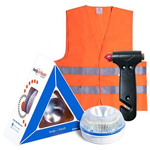 HELP FLASH SMART - luz emergencia AUTÓNOMA preseñalización y linterna, homologada DGT V16 activación AUTOMÁTICA + MARTILLO rompeventanas y cortador de cinturón, y REGALO CHALECO reflectante HOMOLOGADO