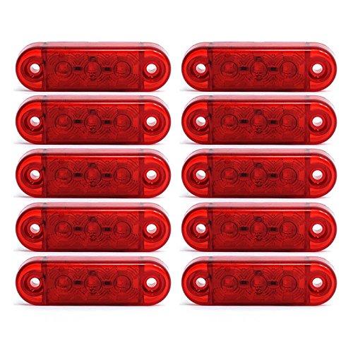 10x 3 LED Begrenzunsleuchten Positionleuchten Seitenleuchten 12V 24V Volt für LKW Bus Trailer Indikator Licht Seitenmarkierungsleuchte in 3 Farben (Rot, Gelb, Weiss) (Rot)