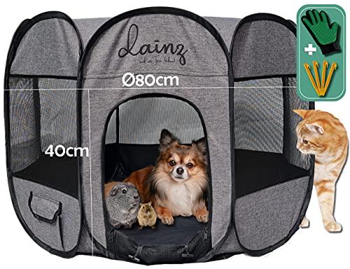 dainz® Jaula de juegos para perros, gatos y animales pequeños, móvil y muy ligero, incluye accesorios