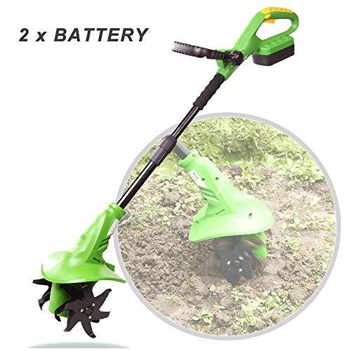HNHN Elektrischer Pinnengrubber, Gartenfräsen-Motorhacke für den Garten mit Akku und Ladegerät Inklusive, Verstellbarer Griff, Tragbare Bodenhacke für Gemüsegärten, Gewächshäuser,Grün,2 Battery