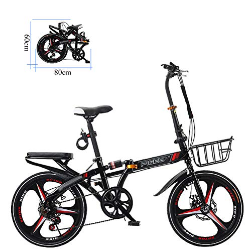 ZEIYUQI 20 Pulgadas Bicicletas Plegable Mini Amortiguación Adulto Unisex Adecuado para Montar al Aire Libre,Negro,A