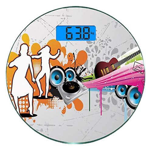 Digitale Präzisionswaage für das Körpergewicht Runde Grunge Ultra dünne ausgeglichenes Glas-Badezimmerwaage-genaue Gewichts-Maße,Musik Menschen mit Plattenspieler und Lautsprecher Tanzen Funky Urban N