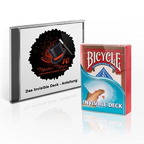 Madus-Magic Das Invisible Deck mit Deutscher Video-Anleitung und DREI verblüffender Kartentricks für Kinder und Erwachsene | Original Bicycle Deck | Zaubertricks