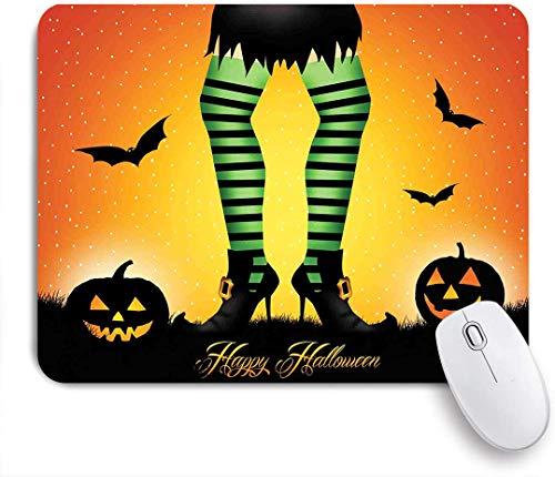 Dekoratives Gaming-Mauspad,Halloween Cartoon Hexenbeine mit gestreiften Leggings Western Concept Fledermäuse und Kürbisse Print,Bürocomputer-Mausmatte mit rutschfester Gummibasis