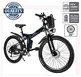 Hiriyt Vélo Electrique 26' E-Bike - VTT Pliant 36V 250W Batterie au Lithium de Grande Capacité - Ville léger Vélo de avec moyeu 21 Vitesses (Blanc, 26 Pouces)