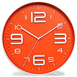 Zaoniy Non-Ticking Silent Quartz Wall Clock with Big 3D Number Modern Design Quiet Sweep Movement Indoor Decorative for Living Room Kitchen Wall Clocks Battery Operated 10-Inch (Orange)