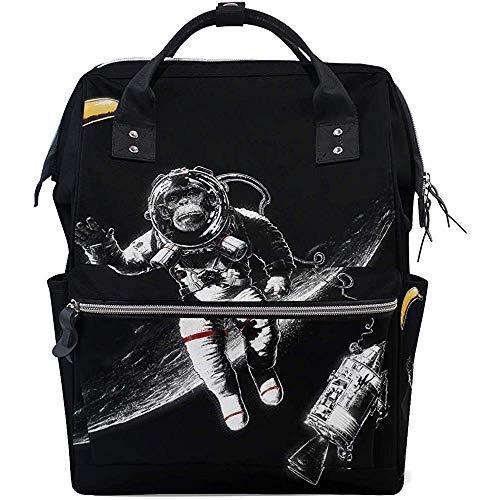 Backpack Space Funny Monkey Astronaut Windel Baby Taschen Lässiger Rucksack 28X18X40Cm Große Kapazität Rucksäcke Reißverschluss Mutter Reise Multifunktions Papa Unisex