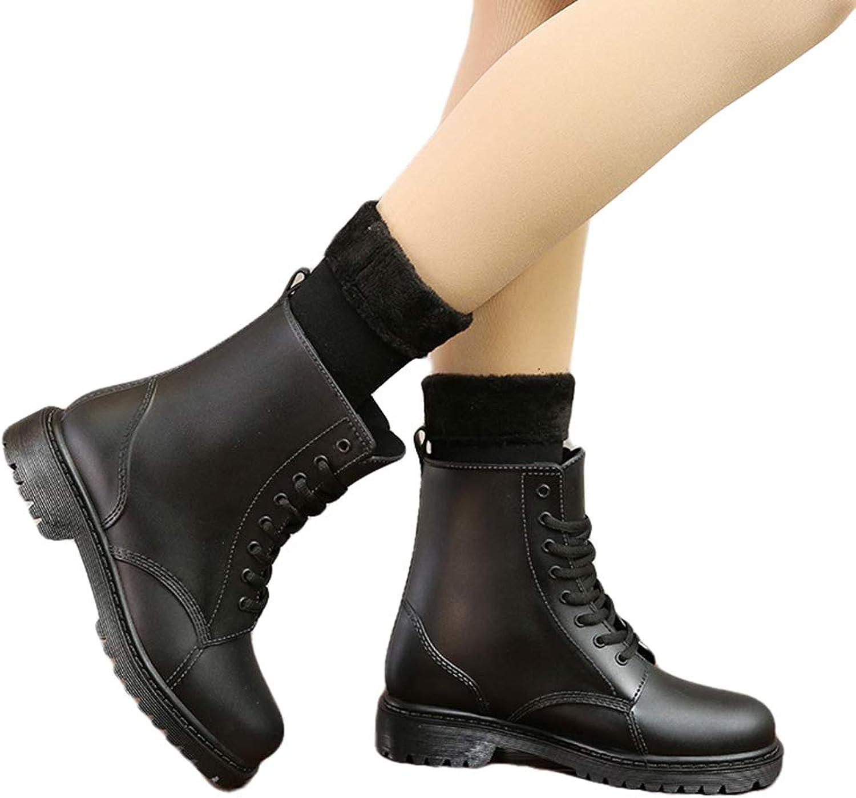 York Zhu Rain Boots - Lace up Waterproof Woman Water Martin Boots
