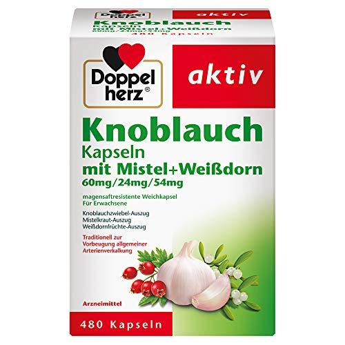 Doppelherz Knoblauch Kapseln mit Mistel und Weißdorn – Arzneimittel zur Vorbeugung allgemeiner Arterienverkalkung – 480 Kapseln
