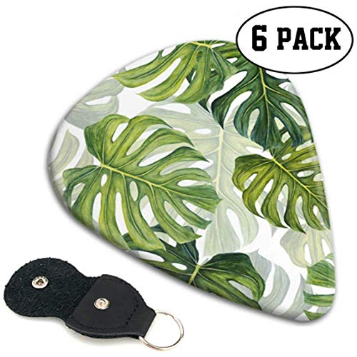 Patrón tropical Large Green Monstera Leaves Picks Disfraz de guitarra Guitar Picks...
