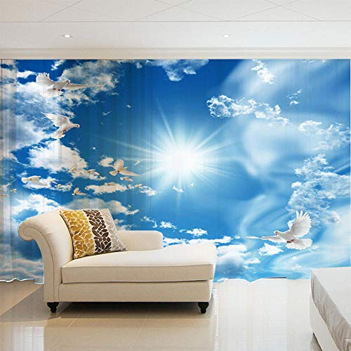 NZHHQW Cortinas Visillos 2 Piezas x 140 x 260cm 3D Cortinas Translucida de Dormitorio Moderno Ventana Visillos Salon Paneles con Ojales Privacidad Ventanas para Sala Salon Habitación,Cielo Azul