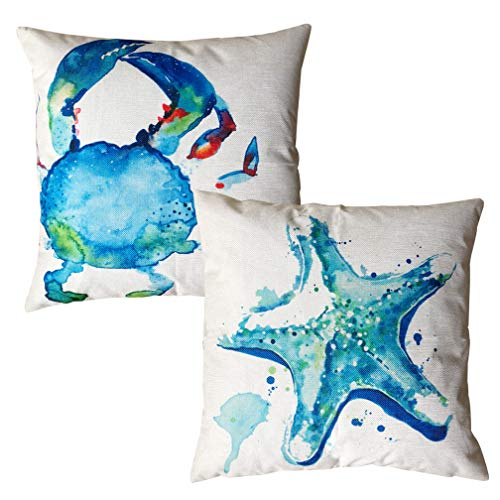 ULOVE LOVE YOURSELF Watercolor Sea Theme Pillow Cases Crab Starfish Throw Pillow Covers Coastal Beach Style Home Decorative Square Cushion Cover 18'X18',2Pack (Watercolor Crab &Starfish)