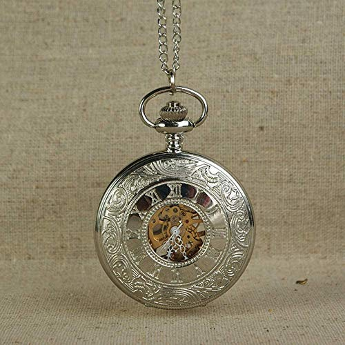 EURYTKS Pocket Watch Mechanical Pocket Watch Men Vintage Bronze Retro Watches Charm Pendant Necklace Pocket Watch with Chain Gold Gear Dial
