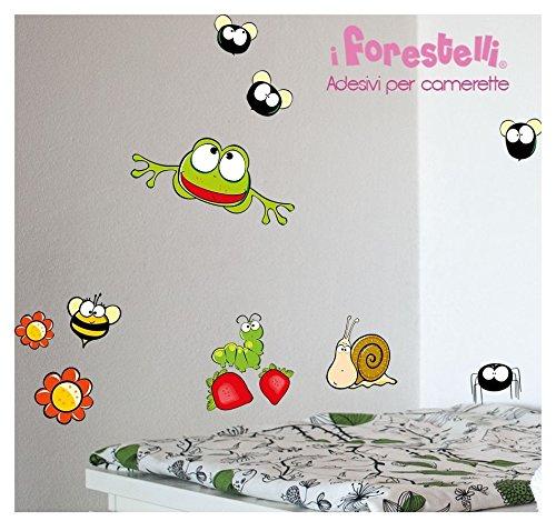 Forestelli® Stickers muraux pour la décoration de la chambre des enfants-TOP QUALITY Stickers adaptés à la fois pour la chambre pour la voiture-Set de stickers à Insectes avec : mouches ragnetti chenilles papillons abeilles grenouilles libellules funghetti et coccinelle !